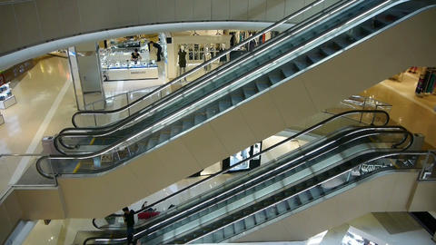 elevator in the shopping malls scene,modern city environment Stock Video Footage