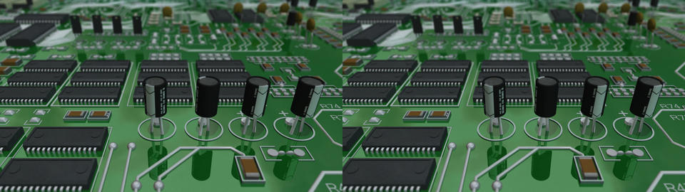 circuit board scroll - stereo 3D Stock Video Footage
