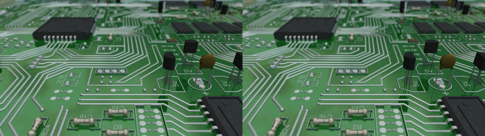 circuit board scroll - stereo 3D Animation
