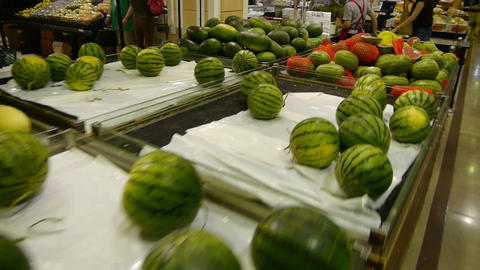 watermelon at the mall supermarket Stock Video Footage