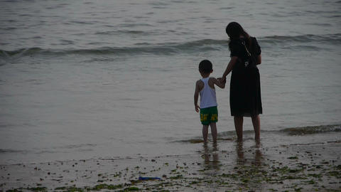 Mother with his son at the beach.tide,tidal Stock Video Footage