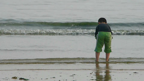 Little boy child wash hands at beach.tide,tidal Stock Video Footage