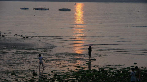Tourist play at sand beach at dusk.tide,tidal Footage