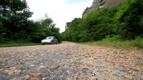 movement of vehicles along a mountain road Stock Video Footage