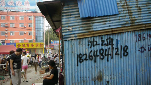 China town fairs market,Slums,Inadequate simple Iron... Stock Video Footage