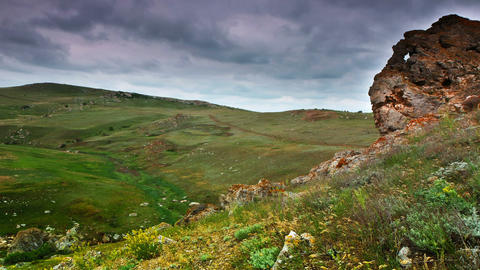 timelapse. Crimean steppe landscape Stock Video Footage