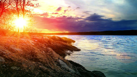 landscape with sunset on the river bank Stock Video Footage
