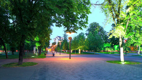 time lapse of evening park. Ukraine, Dnepropetrovsk Stock Video Footage