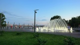 time lapse of fountain on the waterfront of Dnepropetrovsk Footage