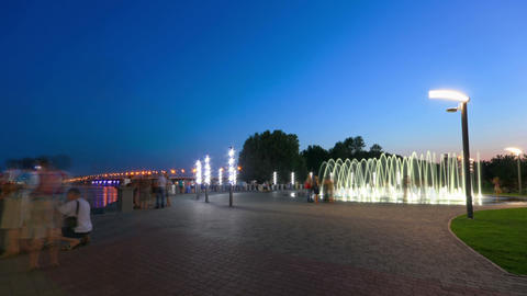 time lapse of fountain on the waterfront of Dnepropetrovsk Stock Video Footage