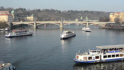 PRAGUE, CZECH REPUBLIC - MARCH 2014: Timelapse of ships sail on the Vltava Footage