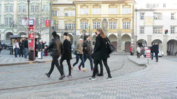 PRAGUE, CZECH REPUBLIC - MARCH 2014: Timelapse of Prague street with trams Footage