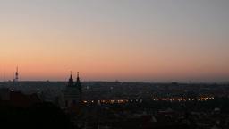 Sunrise over city - Prague Footage