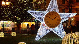 PRAGUE, CZECH REPUBLIC - DECEMBER 2013: Shining Star (with static clock) on the  Footage