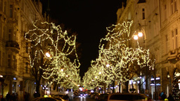 PRAGUE, CZECH REPUBLIC - DECEMBER 2013: Christmas Parisian street with people, s Footage