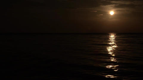 Moon which is reflected in waves of the sea 1 Footage