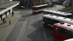 PRAGUE, CZECH REPUBLIC - APRIL 2014: Bus in depot and people leave bus Footage