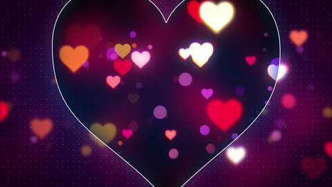 glowing heart shapes loopable love background 4k (4096x2304) Animation