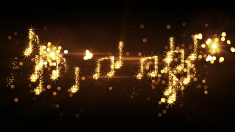 glittering music notes and fireworks loopable animation 4k (4096x2304) Animation