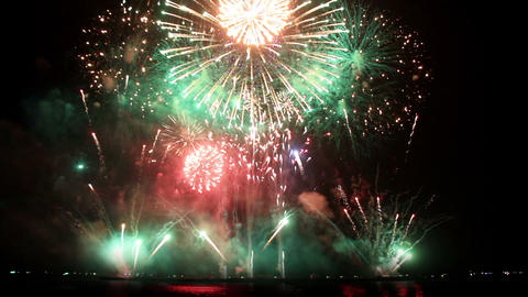 Epic Fireworks From Boats On Sea stock footage