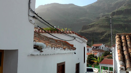 Spain Gran Canary Fataga 008 view into the mountain village Footage
