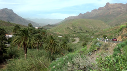 Spain Gran Canary Fataga 006 winding road at volcanic mountain Footage