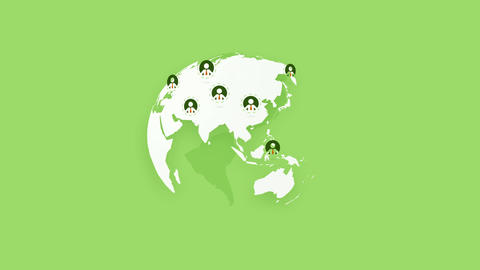global team people, rotating world earth on green background Animation