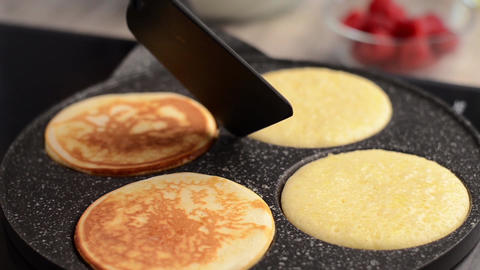 Delish pancakes with ice-cream and chocolate stock footage Footage