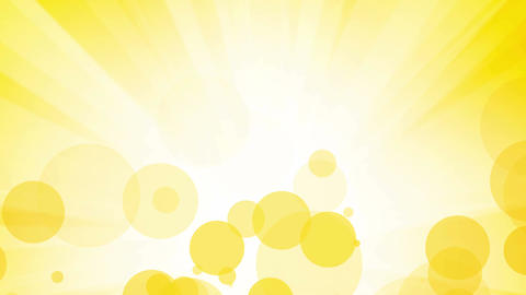 fllying yellow bubbles with rays abstract background Animation