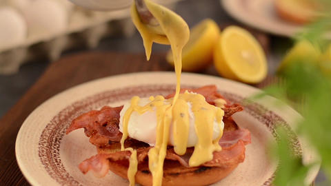 Delicious egg benedict finishing and makin Footage