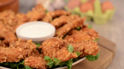 Chicken strips make it and final meal footage Footage