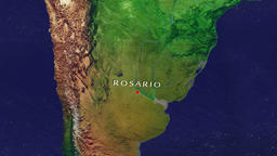 Rosario - Argentina zoom in from space Animation