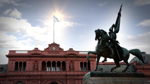 Casa Rosada And Monument, In Buenos Aires Footage