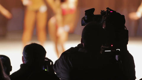 Camera crew shooting video of bodybuilding contest, interesting occupation Footage