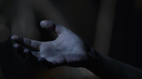 Hopeless maniac victim having seizure, convulsing hand, terrible crime Footage