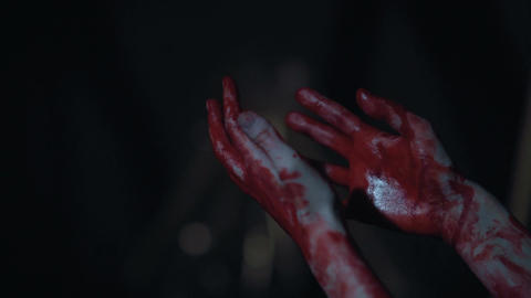 Nightmares, person looking at bloody hands after cruel murder, killer, violence Live Action