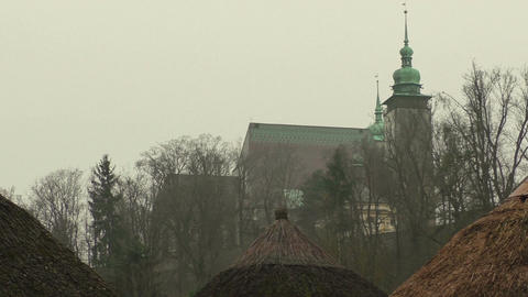 Misty view of the church and gorgeous morning scene Footage