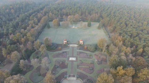 Aerial shot in D-log of Canadian War Cemetery in Holten, Netherlands Footage