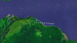 Georgetown - Guyana zoom in from space Animation
