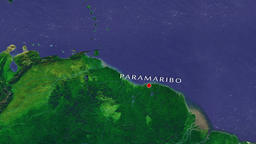 Paramaribo - Suriname zoom in from space Animation