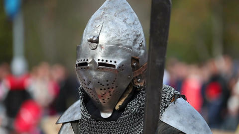 Close-up of a medieval knight with a sword Filmmaterial