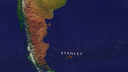 Stanley - Falkland Islands zoom in from space Animation