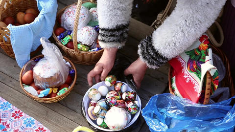Sanctification of easter cakes and eggs Footage