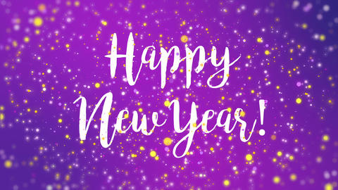 Sparkly purple Happy New Year greeting card video Animation