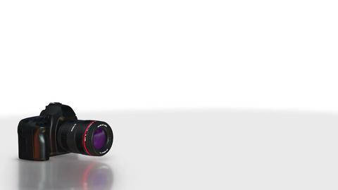 DSLR Camera turning 360 degree on white background. seamless looping CG動画素材
