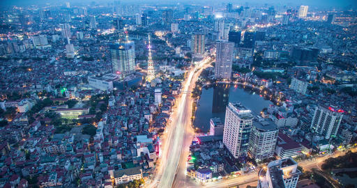 Time Lapse Looking Out Over Hanoi Vietnam