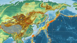 Amur tectonics featured. Relief. Mollweide projection Animation