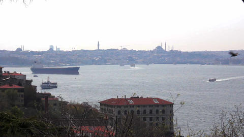 Istanbul. Sea traffic in Bosphorus strait and Golden horn Live Action
