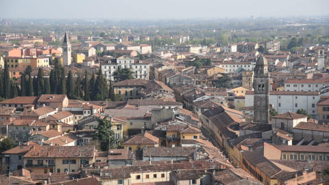 Verona old city aerial view