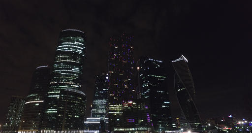 Aerial night business building Moscow city